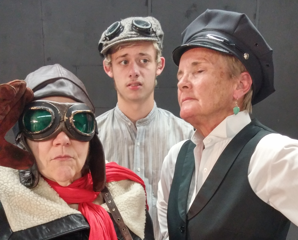 "From left, Sallie Chase as Ivo Prazzoli, Ricky Brewster as Billy Bunders and Penny Davis-Dublin as the narrator in the Daytime Players' ""Billy Goes to War."""
