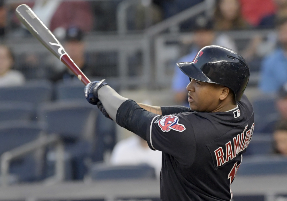 Cleveland's Jose Ramirez homers in the first inning of the Indians' 6-2 win over the New York Yankees on Monday in New York. Ramirez also homered in the sixth inning.