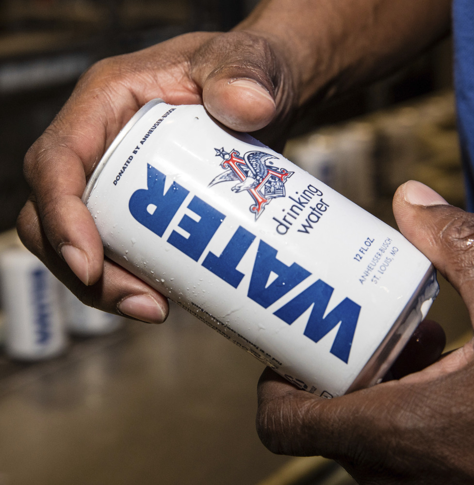 Beer maker Anheuser-Busch periodically cans water to have on hand for disasters.