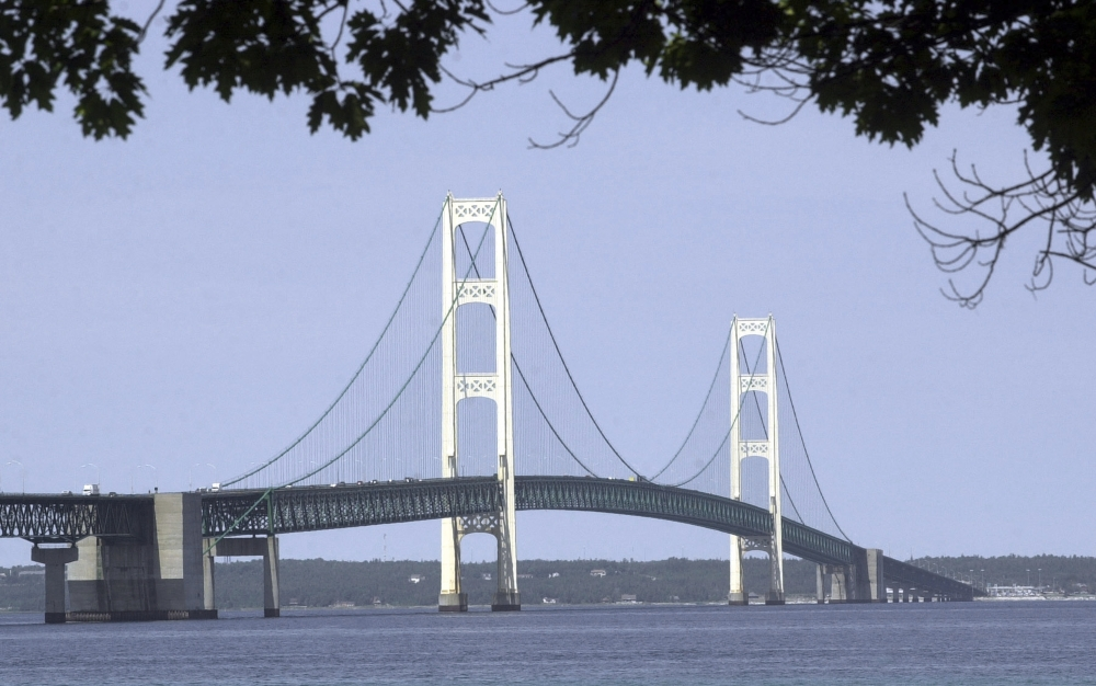 The Mackinac Bridge isn't all that spans Michigan's Straits of Mackinac. Twin oil pipelines beneath the waterway that links Lakes Huron and Michigan are said to be damaged.