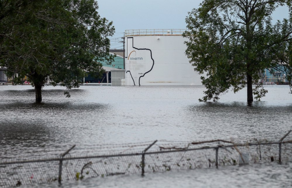 The flooded Arkema Inc. chemical plant in Crosby, Texas, seen Wednesday, lost power and its backup generators because of Harvey's rains, and had no refrigeration for chemicals that become volatile as the temperature rises.