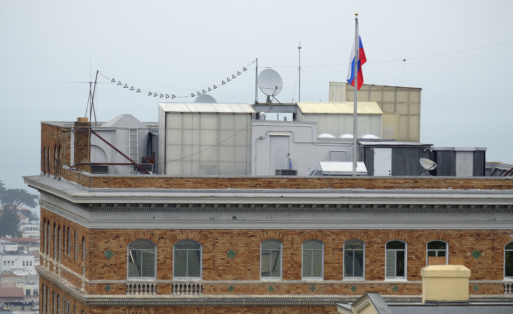 The roof of the Consulate-General of Russia in San Francisco is arrayed with equipment. The consulate is one of the three Russian diplomatic facilities ordered closed. State Department says move is in response to the Kremlin forcing a cut in U.S. diplomatic staff in Moscow.