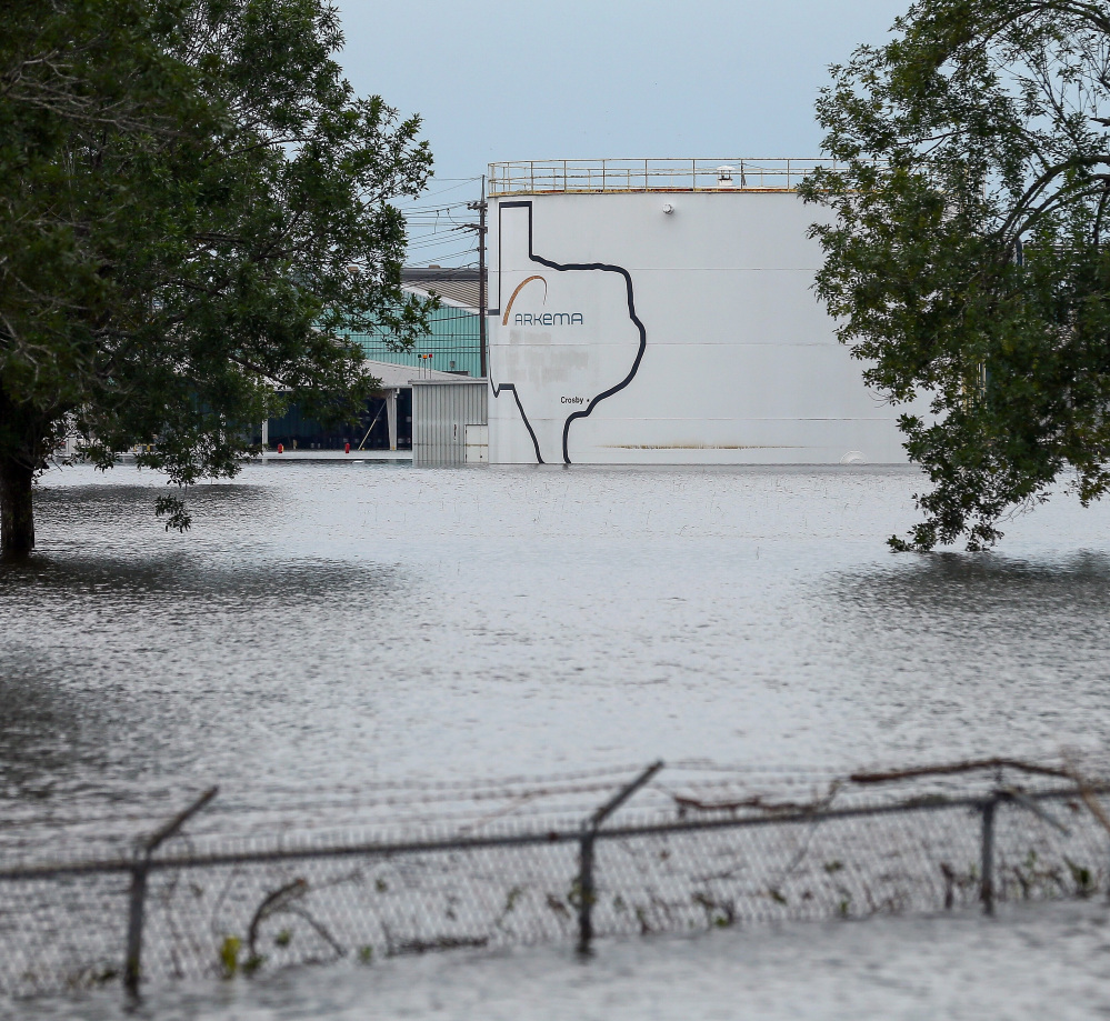 The Arkema Inc. chemical plant is flooded from Tropical Storm Harvey in Crosby, Texas. The plant lost power and its backup generators amid Harvey's dayslong deluge, leaving it without refrigeration for volatile chemicals.