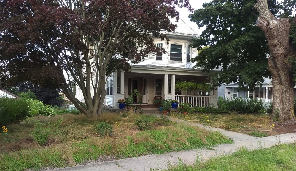 Photo provided by Maggie Redfern shows her yard in New London, Conn. Redfern was issued an abatement order from the city of New London's blight officer.