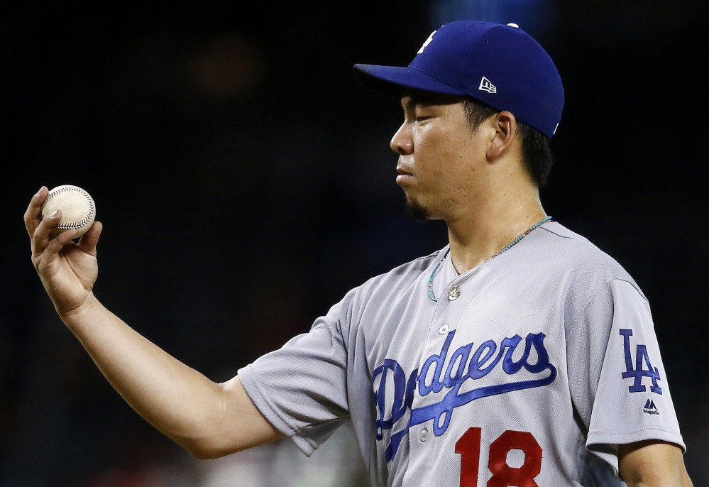 Maybe the baseball was the problem in Kenta Maeda's start on Thursday, when the Dodgers righty allowed seven runs on eight hits in just three-plus innings. Los Angeles fell to the Diamondbacks 8-1, the Dodgers' season-high fifth straight loss.