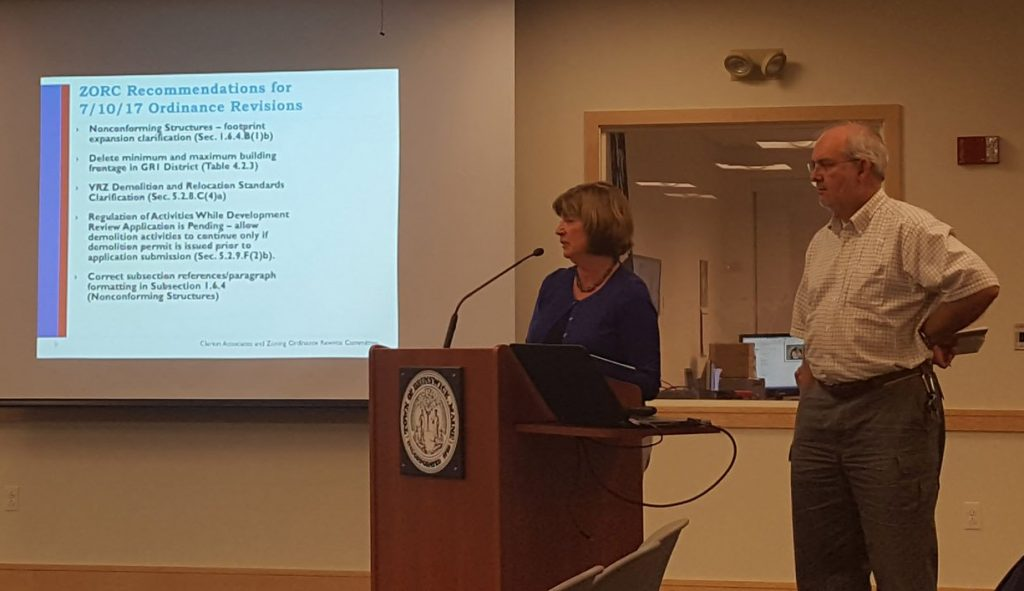 Brunswick Director of Planning and Development Anna Breinich reviews parts of the new zoning ordinance as part of the Aug. 7 public hearing.