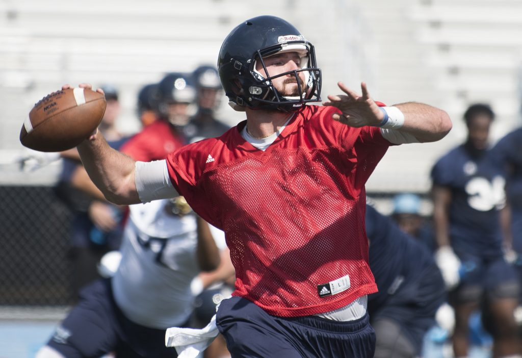 Max Staver and three other quarterbacks are competing for the starting job that likely won't be decided until after the team's final preseason scrimmage, scheduled for Aug. 14.