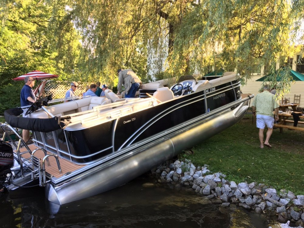 A pontoon boat crashed Wednesday evening into the back of the Village Inn on Great Pond in Belgrade.