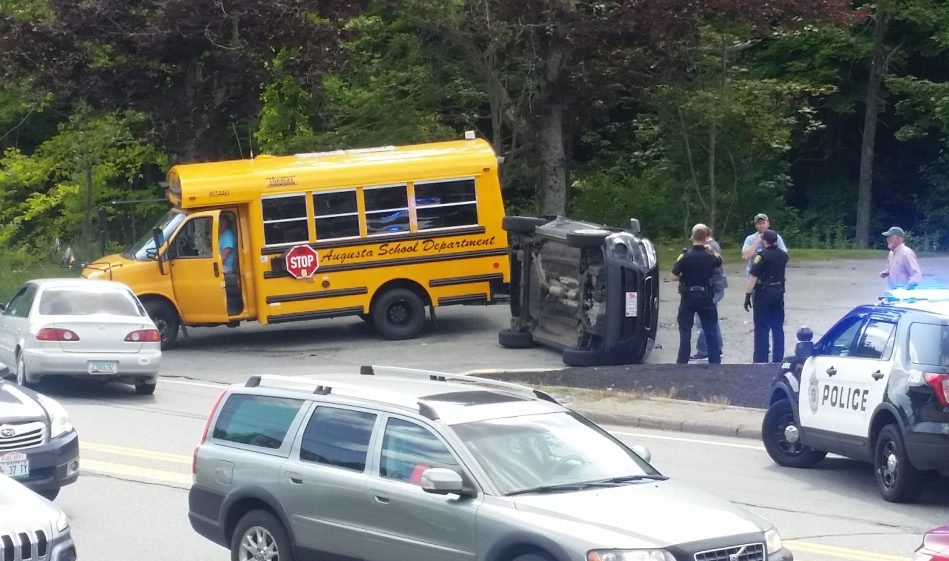 A school bus and at least one other vehicle collided on Civic Center Drive near Townsend Road Thursday afternoon.