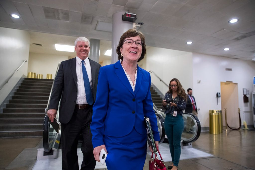U.S. Sen. Susan Collins, R-Maine, shown returning to her office on Capitol Hill on Wednesday, said Friday on CNN that President Trump shouldn't interfere with the Justice Department's ongoing probe of Russian involvement in the 2016 presidential election.