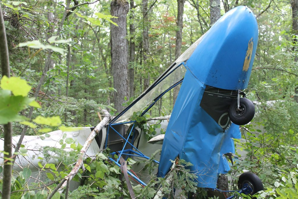 Bill Fuller, 75, of Clinton suffered minor injuries after his ultra-light plane crashed Tuesday in Benton.