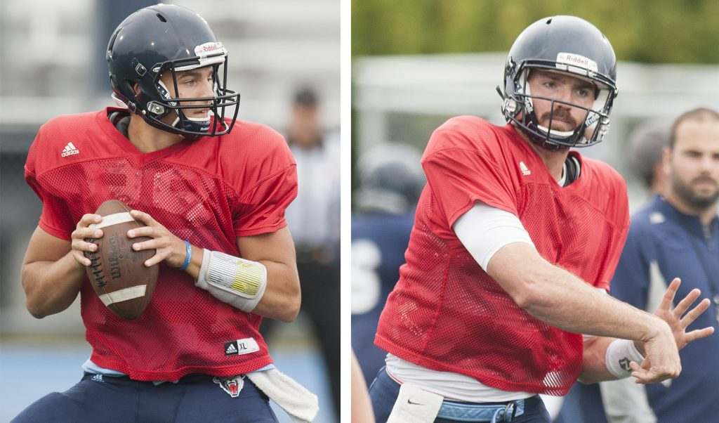 Chris Ferguson, left, and Max Staver are two of the four UMaine quarterbacks who are competing for the starting position as the Black Bears prepare for their season opener on Aug. 31 against New Hampshire.