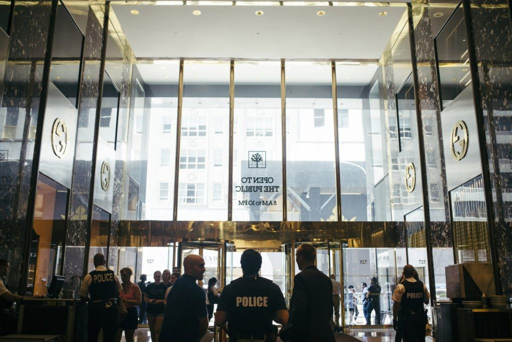 A strong police presence is visible in Trump Tower on Thursday. The Secret Service command post has moved out of the tower and into a trailer on the sidewalk in a lease dispute with the Trump Organization.