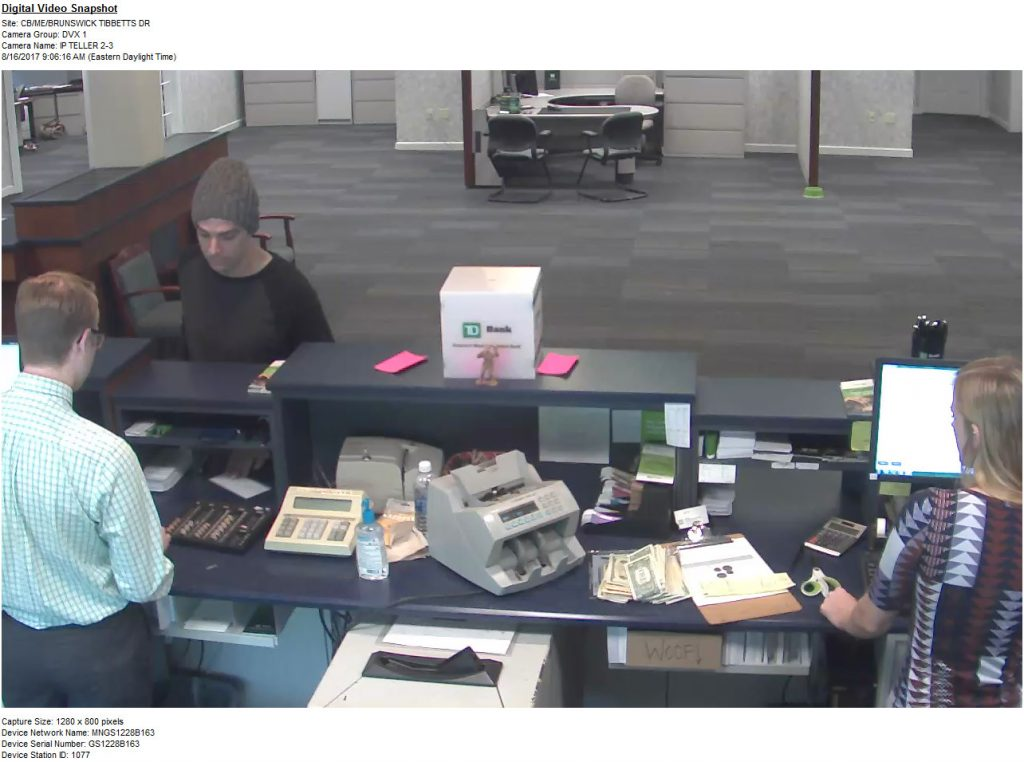 Video screen capture from the TD Bank branch that was robbed Wednesday morning.