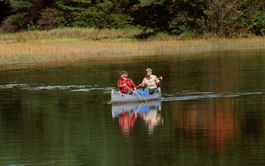 That's Alan Hutchinson paddling in the stern of the canoe in 1996 with Warren Eldridge, a colleague with the Maine Department of Inland Fisheries and Wildlife, after they'd rescued a black duck along the shore of the Stroudwater River above Congress Street in Portland.