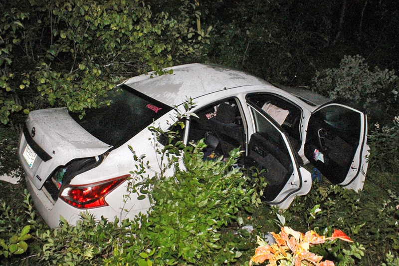 The 2013 Nissan Altima that went off Spec Pond Road and slammed into a tree around 11:45 p.m. Wednesday in Porter.