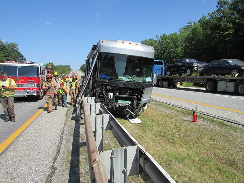 Accident scene in Litchfield on the Maine Turnpike Tuesday afternoon.