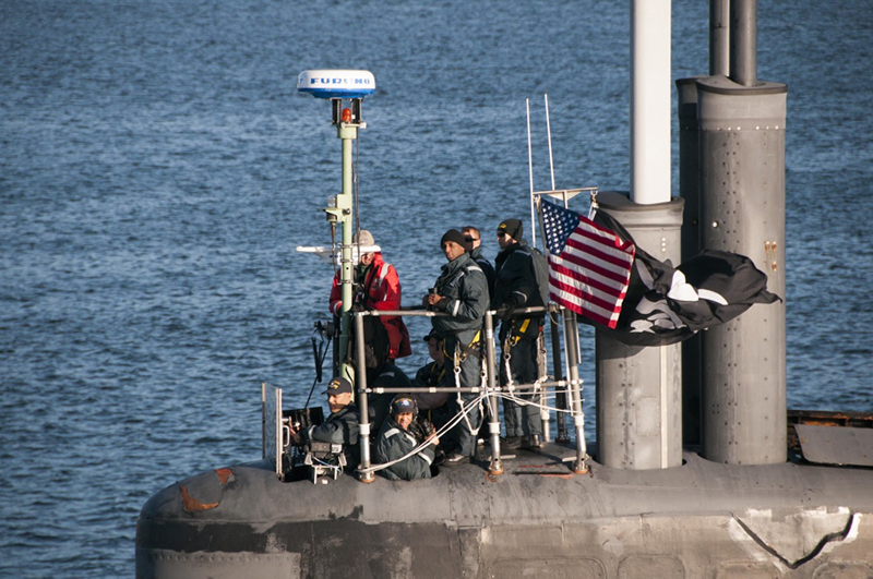 Seawolf-class fast-attack submarine USS Jimmy Carter (SSN 23) transits the Hood Canal on its way home to Naval Base Kitsap-Bangor in Washington State.