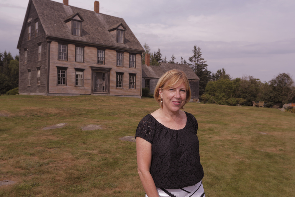 "Christina Baker Kline at the Olson House in Cushing. Kline has written a fictionalized account of the life of Christina Olson, the model for Andrew Wyeth's famous painting, ""Christina's World."""
