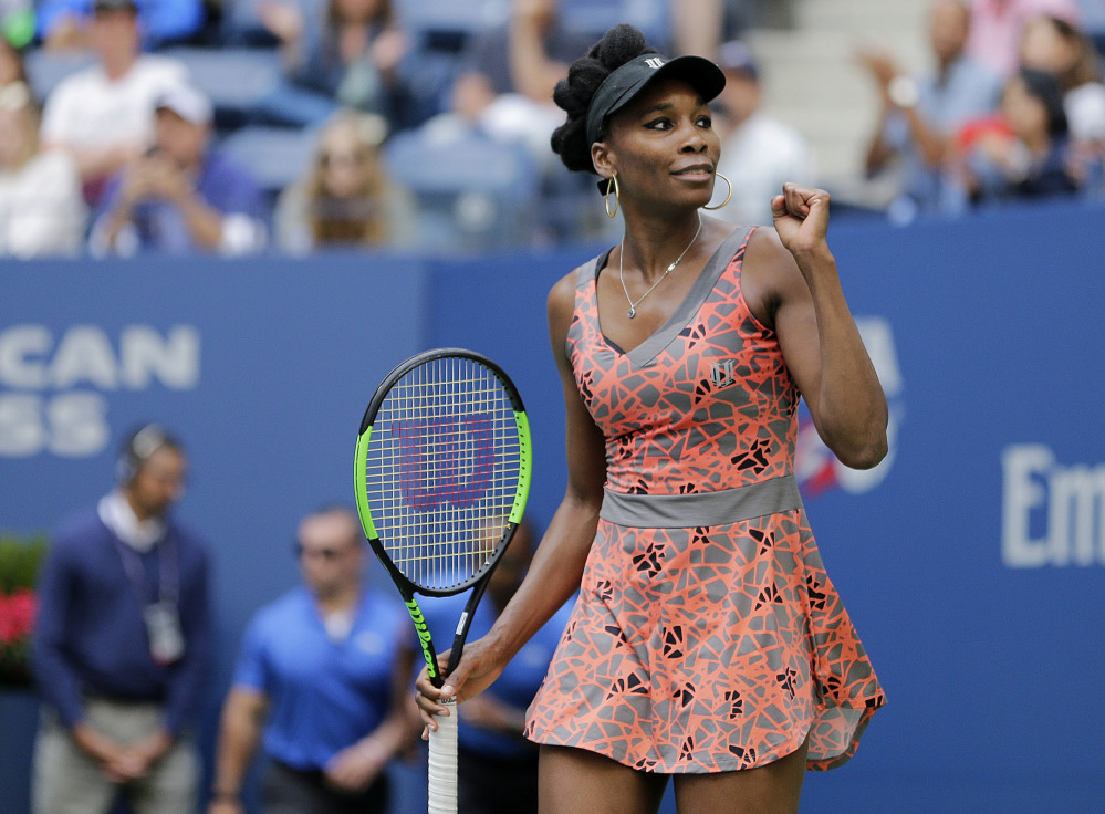 Venus Williams celebrates her win Friday over Maria Sakkari in the third round of the U.S. Open. Williams also became an aunt Friday when her sister, Serena, gave birth to a girl.