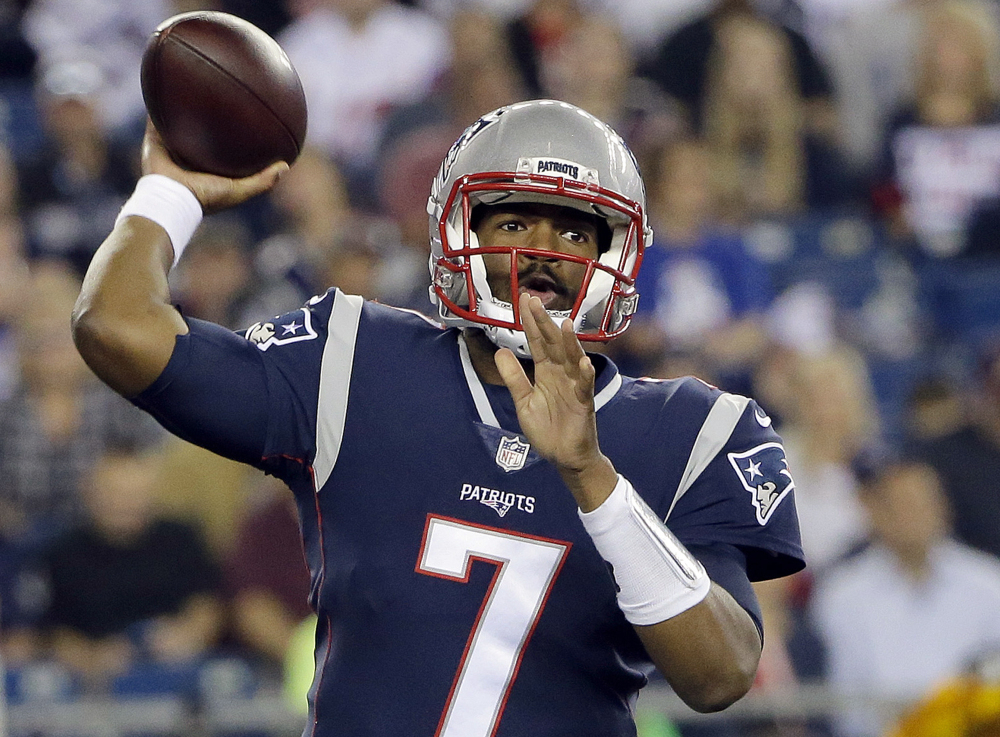 New England quarterback Jacoby Brissett was traded to Indianapolis on Saturday for receiver Phillip Dorsett.