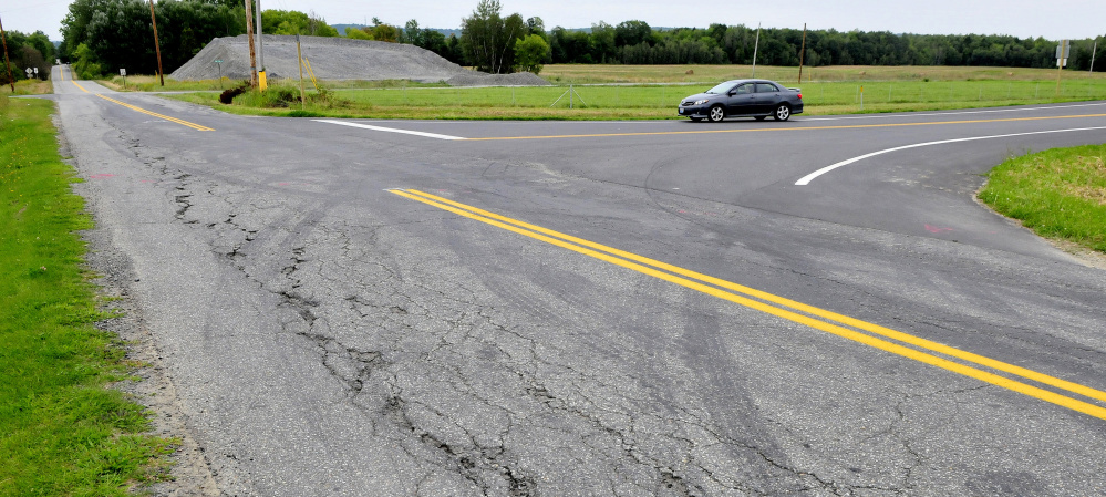 A car turns onto Trafton Road in Waterville on Wednesday from the new northbound exit off Interstate 95.