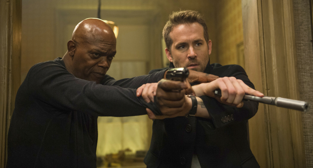 Samuel L. Jackson, left, and Ryan Reynolds appear in