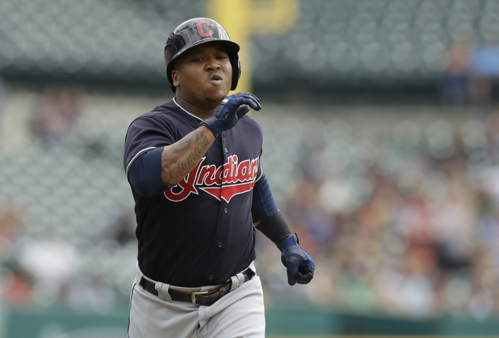 Cleveland Indians' Jose Ramirez rounds the bases after a solo home run during the first inning of a baseball game against the Detroit Tigers, Sunday, Sept. 3, 2017, in Detroit. (AP Photo/Carlos Osorio)