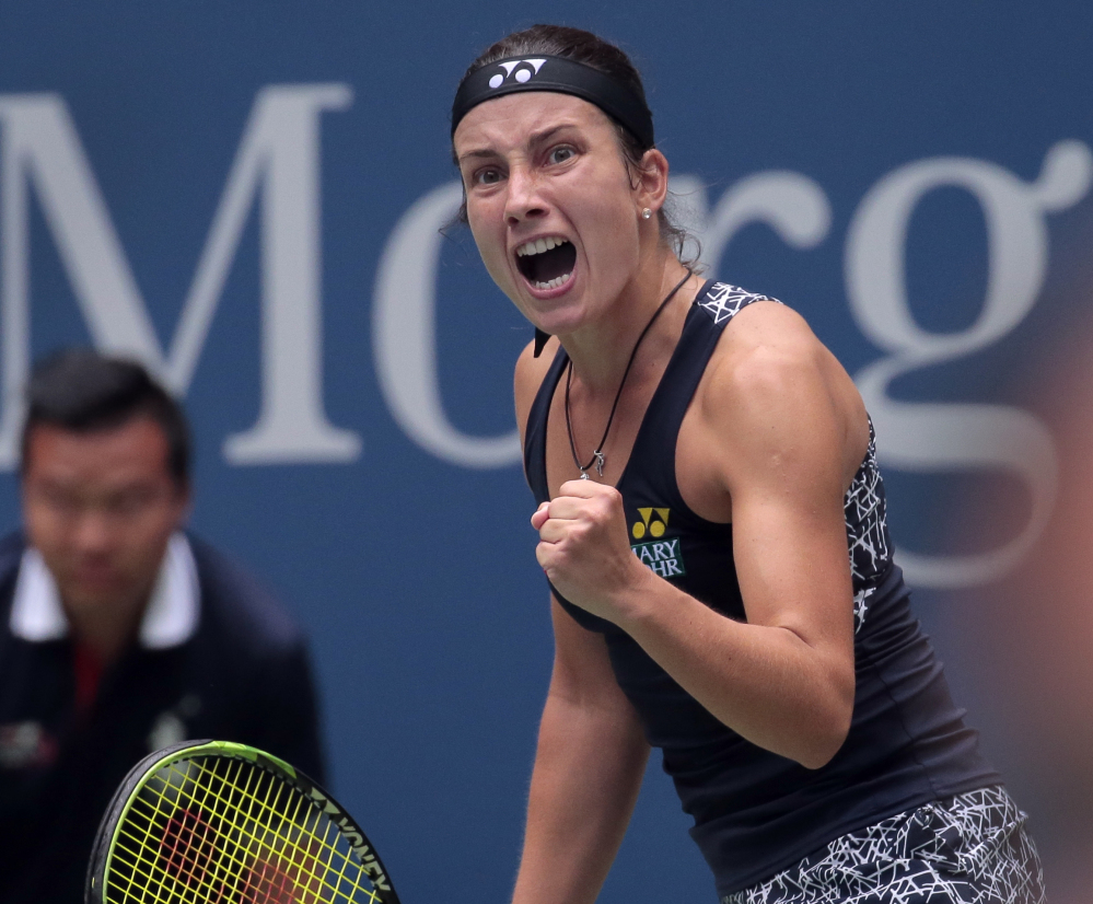 Anastasija Sevastova celebrates during her 5-7, 6-4, 6-2 win over Maria Sharapova in the fourth round of the U.S. Open on Sunday in New York.