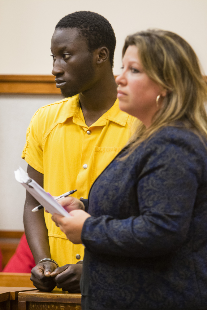 Abdul Rahman Timbo of Virginia appears, with his court appointed attorney Temma Donahue, in Cumberland County Superior Court Tuesday, on charges of attempted murder and reckless conduct with a firearm for an incident Sunday at a Forest Avenue car wash.
