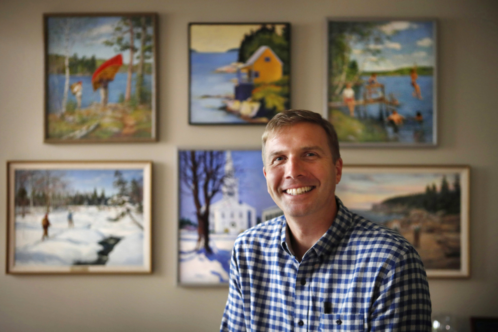 "L.L. Bean CEO Steve Smith poses in his office in Freeport on Aug. 30. He said, ""We need to be clear about who we are and what our identity is, and then communicate in a very compelling way to customers, knowing that others are collapsing around us."""