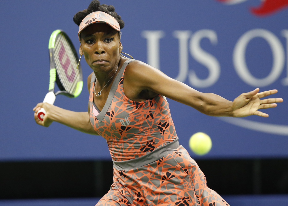 Venus Williams prepares to hit a forehand Tuesday night to Petra Kvitova during the quarterfinals of the U.S. Open. Williams won in three sets and will meet Sloane Stephens in the semifinals.