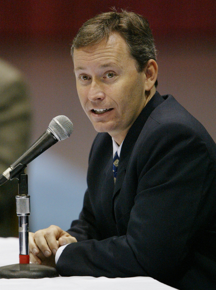 Shawn Scott testifies during a hearing before the Maine Harness Racing Commission in Augusta in 2003. The commission was considering Scott's application for a racing license, which would allow him to operate slot machines at Bangor Raceway.