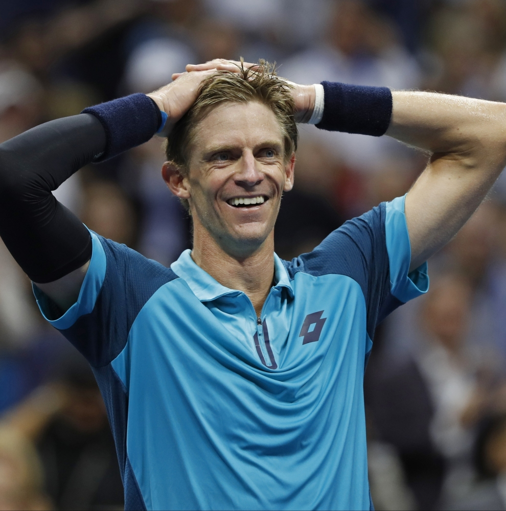 Kevin Anderson of South Africa reacts after beating Pablo Carreno Busta of Spain in their U.S. Open semifinal to advance to the title match of a major for the first time.