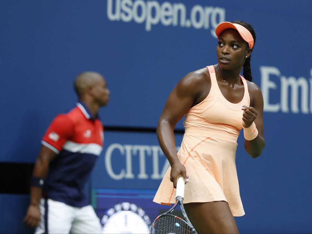 Sloane Stephens reacts after winning a point against Madison Keys during the women's singles final of the U.S. Open tennis tournament on Saturday in New York. ()