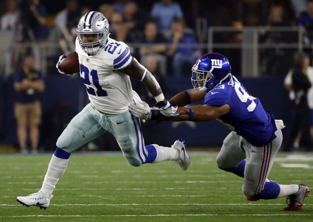 Cowboys running back Ezekiel Elliott rushed for 104 yards in a season-opening win over New York on Sunday after his suspension was blocked by a federal court judge.