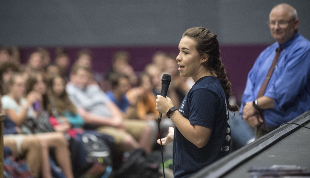 Mollie Pleau, a 2013 graduate of Waterville Senior High School, speaks to students about the adversity she overcame on the path to her goal of becoming a nuclear physicist and an astronaut.