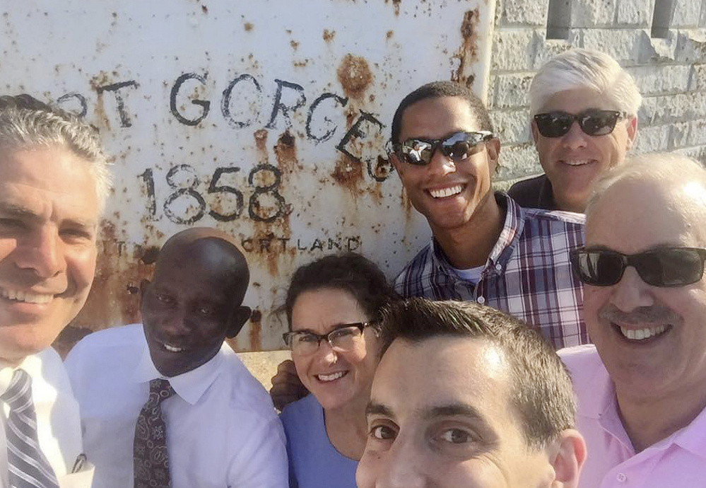 A Facebook photo posted by Councilor Pious Ali, shows, from left to right, Ethan Strimling, Ali, Belinda Ray, Justin Costa, Spencer Thibodeau, Nicholas Mavodones and David Brenerman at Fort Gorges on Monday.