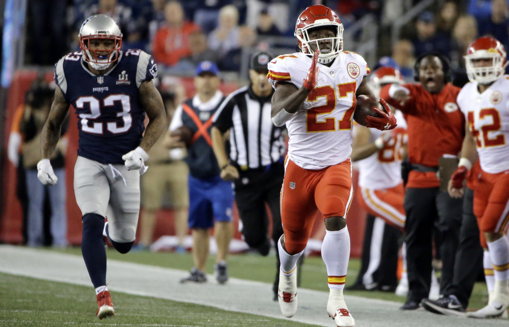 Kansas City's Kareem Hunt is one of several rookie running backs who made a big splash in Week 1. He ran for 148 yards and a touchdown on 17 carries and caught five passes for 98 yards against the Patriots.