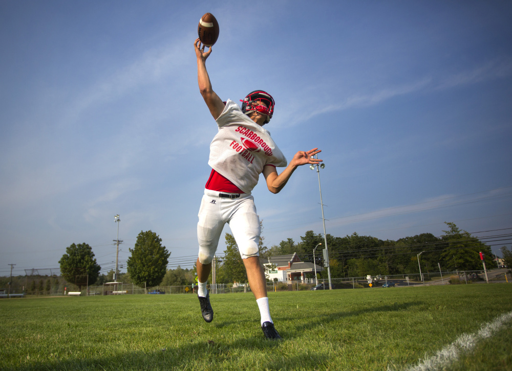 Senior quarterback Zoltan Panyi and his Scarborough teammates might not have a history of winning against Thornton Academy, but could be considered favorites entering Friday night's game.