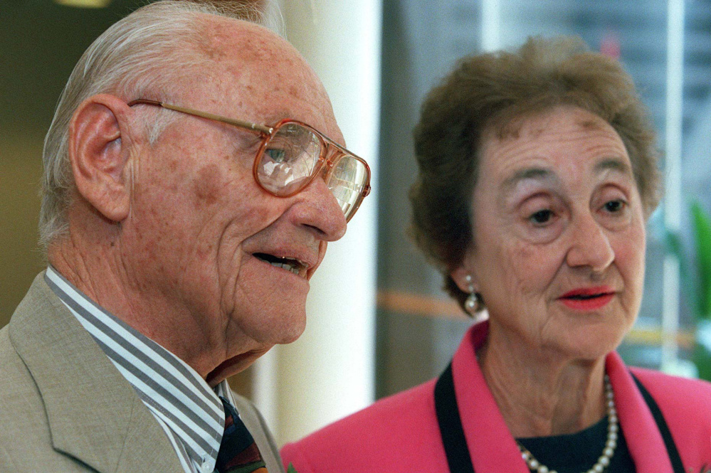 """This is really a love story for the ages"" is how son Michael describes the marriage of the late Kurt and Sonja Messerschmidt, shown at an annual meeting of the Holocaust Human Rights Center of Maine in 1999."