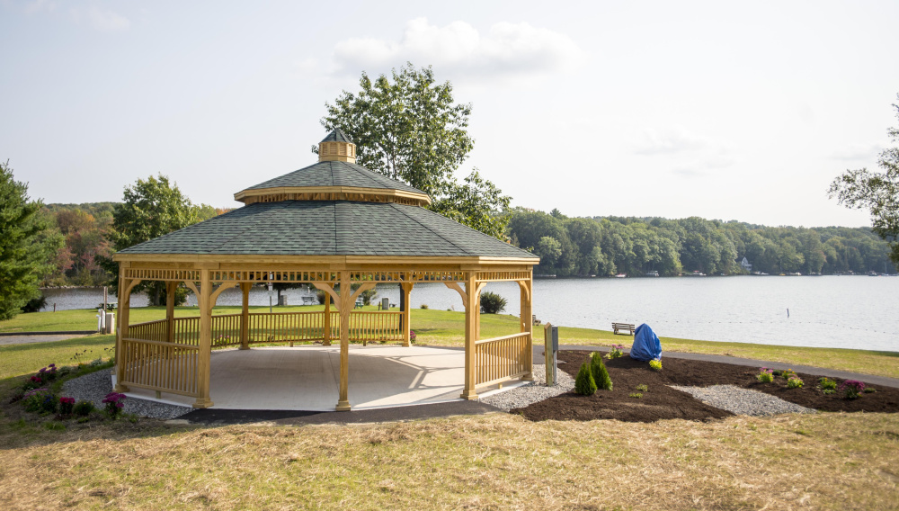 The new town gazebo at the boat landing at Messalonskee Lake in Oakland was scheduled for dedication Saturday. evening.
