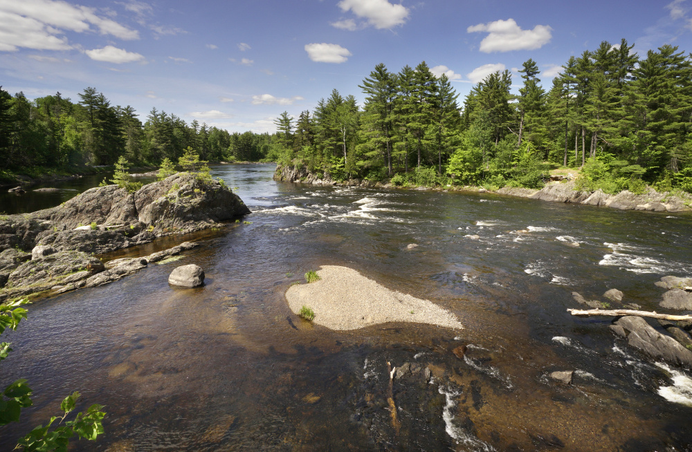 The East Branch of the Penobscot River flows near Whetstone Falls in the Katahdin Woods and Waters National Monument in northern Penobscot County.