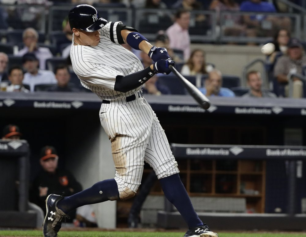 Aaron Judge of the Yankees may set a record for strikeouts in a season, but he also had 43 home runs through Sunday, part of a rising all-or-nothing approach by hitters.