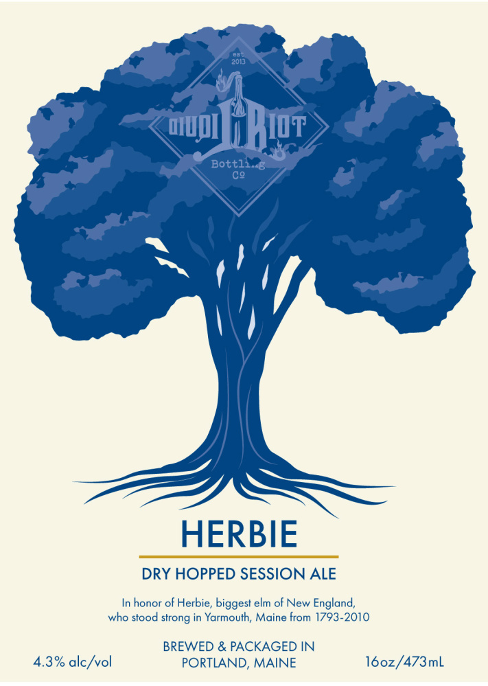 The label for the dry hopped session ale prodiuced by Liquid Riot to honor Herbie the tree.