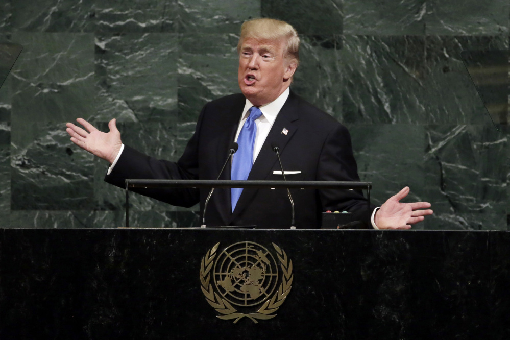 President Trump addresses the 72nd session of the United Nations General Assembly, at U.N. headquarters, Tuesday, Sept. 19, 2017. (AP Photo/Richard Drew)