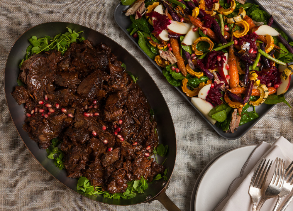 Brisket with Leeks and Pomegranate Molasses and Honeyed Carrot Salad with Squash and Roasted Garlic Vinaigrette both have ingredients that are meaningful for Rosh Hashanah.