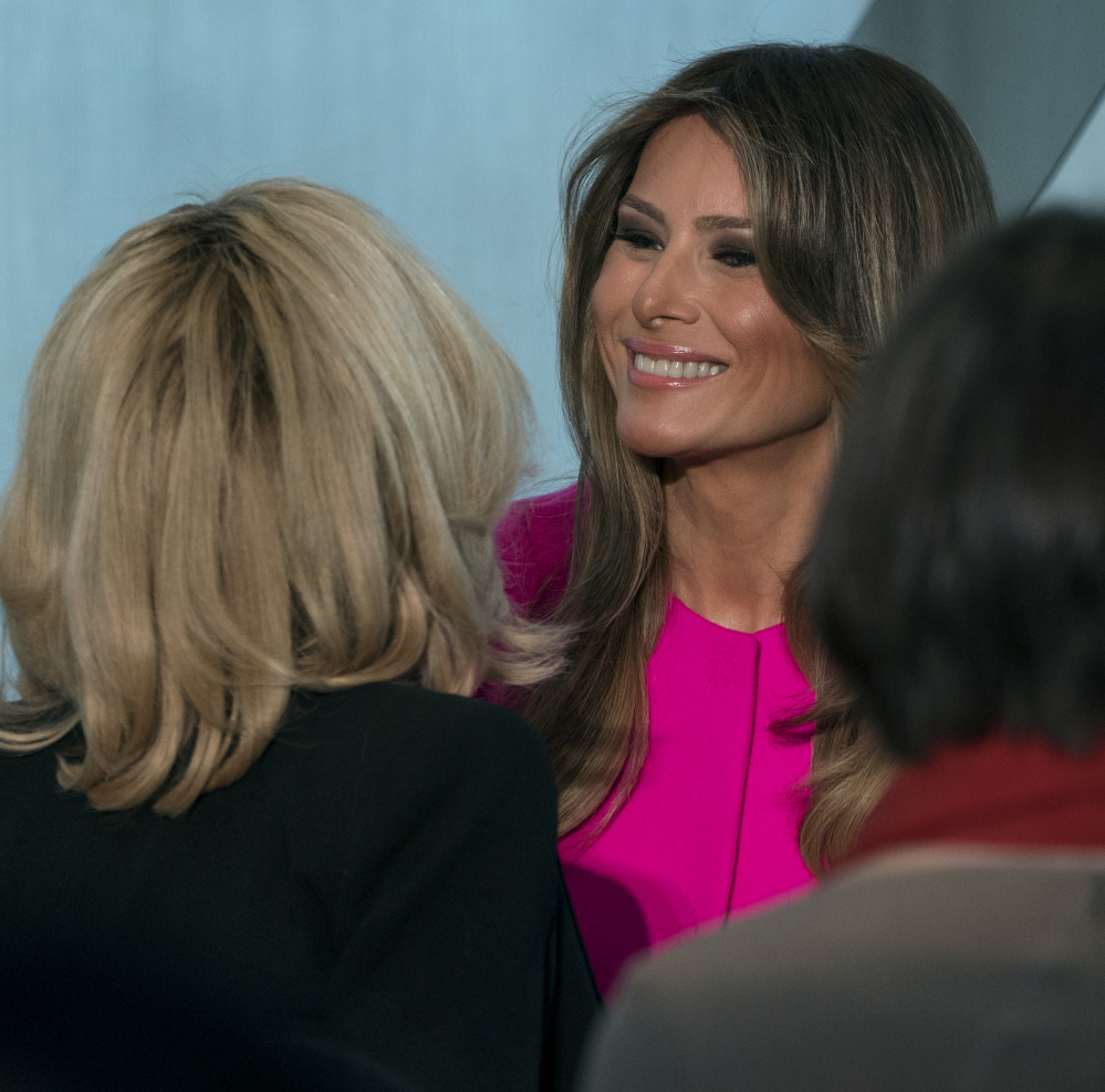 U.S. first lady Melania Trump mingles after addressing a luncheon  Wednesday at the U.S. Mission to the United Nations.