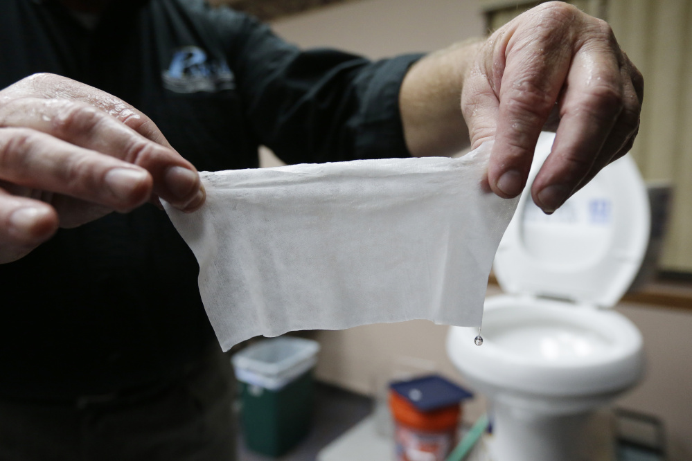 Increasingly popular bathroom wipes are triggering complaints from sewer officials across the country.