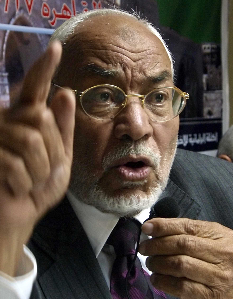 Muslim Brotherhood leader Mohammed Mahdi Akef speaks during a Cairo news conference in 2009.